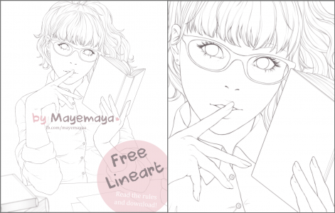 In the library - FREE LINEART by Mayemaya