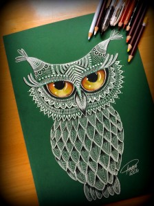 green owl by Pinka