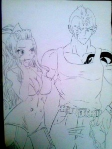 Laxus and Mirajane ( lineart ) by Olinek
