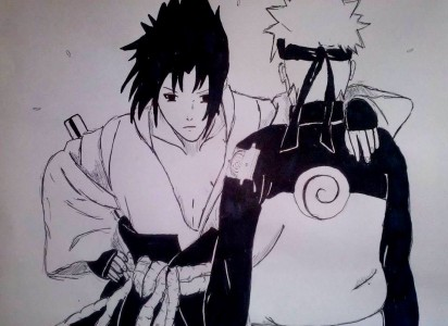Naruto and Sasuke by Olinek
