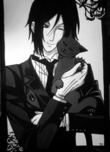 Sebastian Michaels with black cat by kakixxx